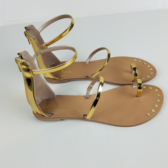 94f906c571c Lulu s Shoes - Lulu s Gold Achilles Flat Strap Sandals
